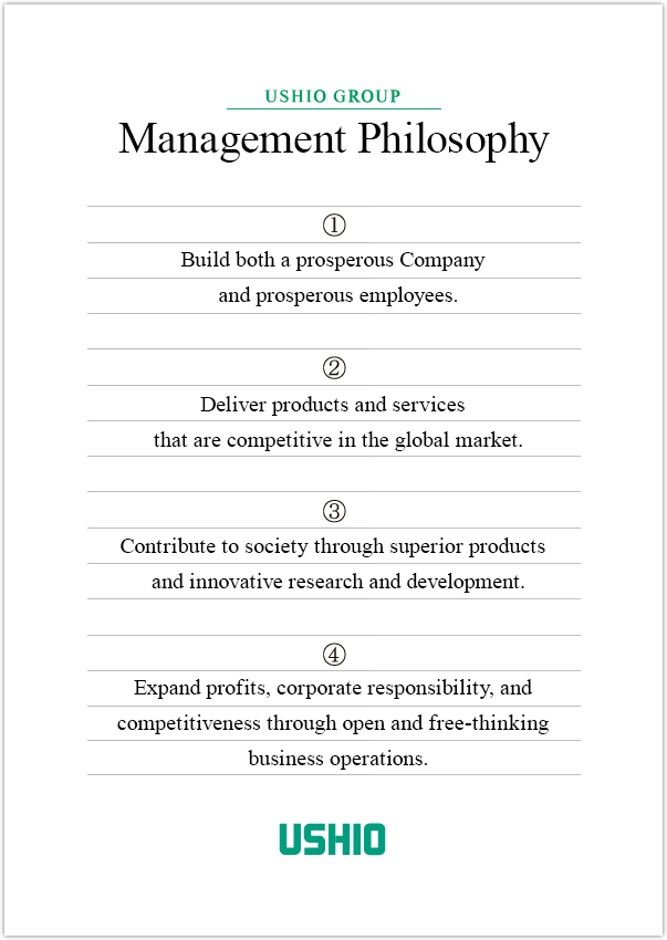 Management Philosophy (1) Build both a prosperous Company and prosperous employees. (2) Deliver products and services that are competitive in the global market. (3) Contribute to society through superior products and innovative research and development. (4) Expand profits, corporate responsibility, and competitiveness through open and free-thinking business operations.